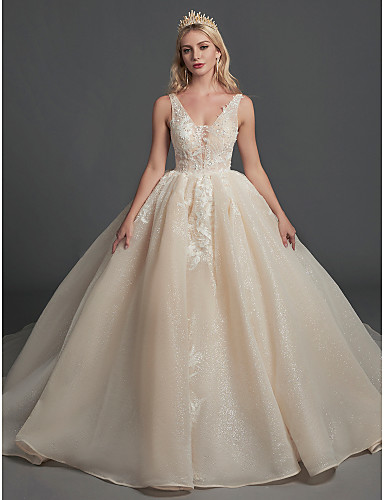 cheap Wedding Dresses-Ball Gown V Neck Floor Length Lace / Organza Regular Straps Glamorous Sparkle & Shine Wedding Dresses with Lace / Beading 2020