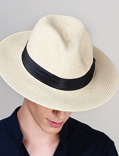 cheap Men's Hats-Men's 1930s Linen Polyester Straw Floppy Hat Straw Hat-Solid Colored All Seasons Black Beige Khaki