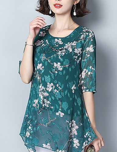 billige Dametopper-Bluse Dame - Blomstret Vin