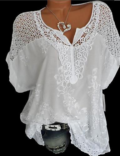 billige Dametopper-Løstsittende V-hals Store størrelser Skjorte Dame - Ensfarget Svart