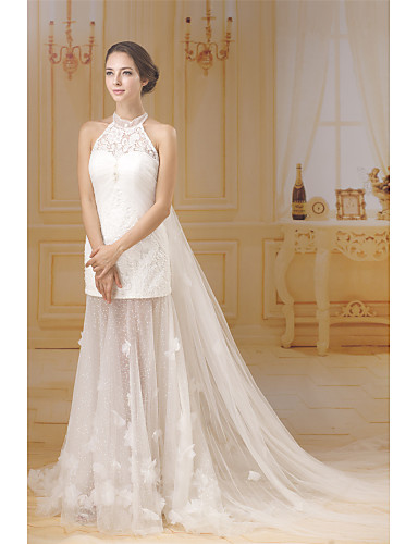 4feb96ee3bb [$354.00] Sheath / Column Halter Neck Chapel Train Lace / Tulle / Sequined  Made-To-Measure Wedding Dresses with Beading / Lace by ANGELAG