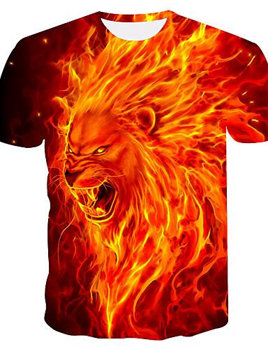 voordelige Heren T-shirts & tanktops-Heren Print Grote maten - T-shirt dier Ronde hals Oranje / Zomer
