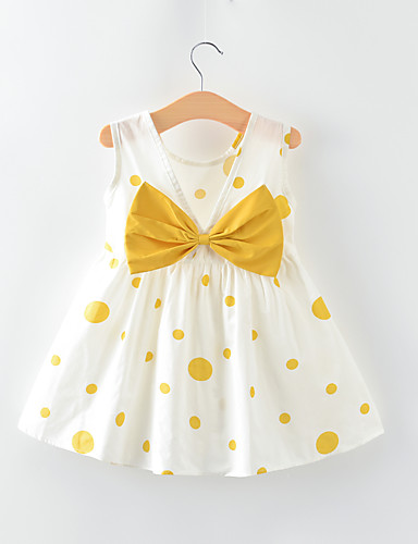 preiswerte Baby & Kinder-Baby Mädchen Aktiv / Grundlegend Punkt Rückenfrei / Schleife Ärmellos Übers Knie Baumwolle Kleid Braun