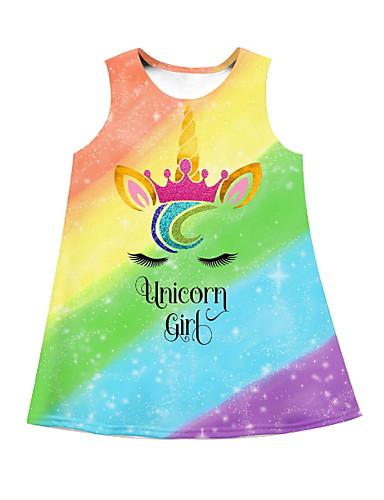 preiswerte Unicorn Dresses-Kinder Mädchen Unicorn Regenbogen Übers Knie Kleid Blau