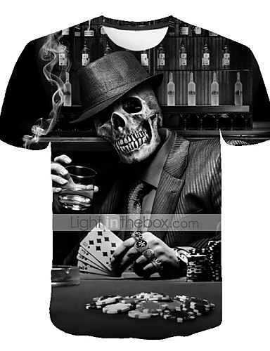 cheap Men's Tees & Tank Tops-Men's Plus Size T-shirt 3D Graphic Skull Print Short Sleeve Tops Exaggerated Round Neck Black / Summer