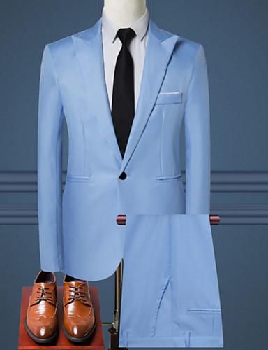 cheap Suit-Men's Suits, Solid Colored Shirt Collar Polyester Light Blue / Khaki / Royal Blue / Slim