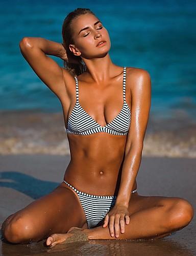 preiswerte Bademode & Bikinis-Polyester Badebekleidung und Bikinis Sexy Gestreift Bikini Streifen