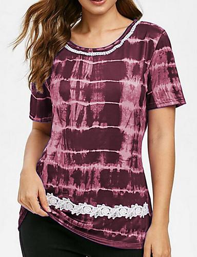 billige Dametopper-Store størrelser T-skjorte Dame - Geometrisk, Trykt mønster Lilla XXXL