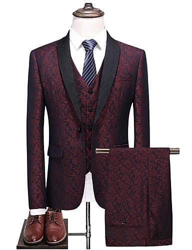 levne Pánské blejzry a saka-Pánské Obleky, Barevné bloky Šálové klopy Polyester Vodní modrá / Fialová / Štíhlý