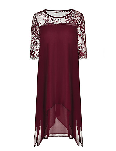 voordelige Grote maten jurken-Dames Verfijnd Schede Tuniek Jurk - Effen, Patchwork Print Asymmetrisch