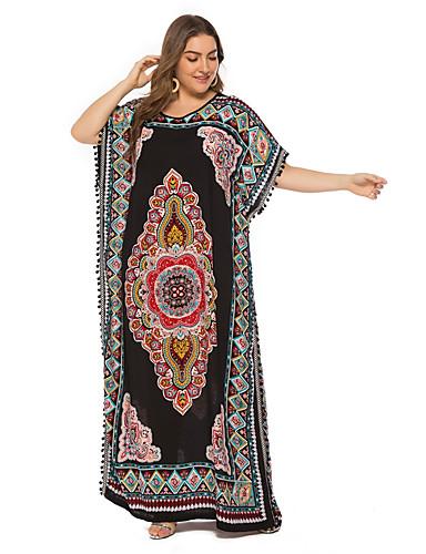 levne Šaty velkých velikostí-Dámské Vintage Cikánský kaftan Šaty - Etno, Třásně Maxi