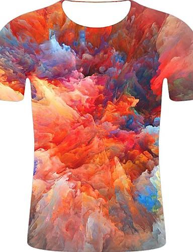 levne Pánská tílka-Pánské - 3D / Duhová / Grafika Větší velikosti Tričko, Tisk Bavlna Kulatý Duhová