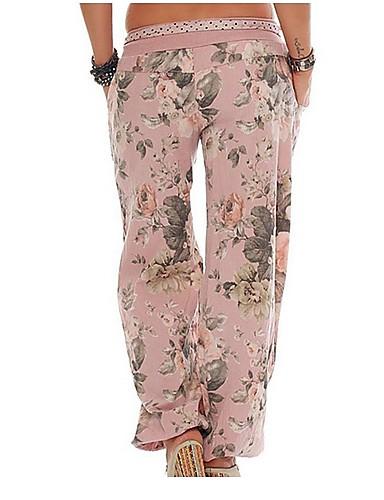 billige Tights til damer-Dame Grunnleggende Store størrelser Løstsittende Chinos / Bloomers Bukser - Blomstret Rosa Militærgrønn Kakifarget XXXL XXXXL XXXXXL