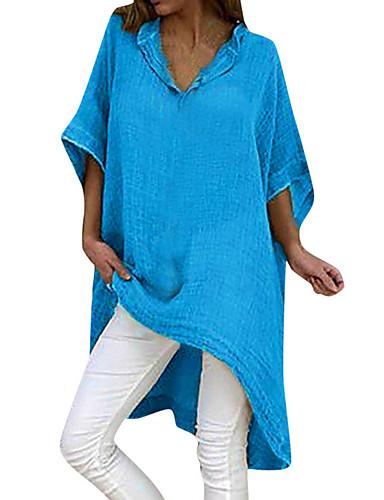 billige Dametopper-Løstsittende V-hals T-skjorte Dame - Ensfarget Svart