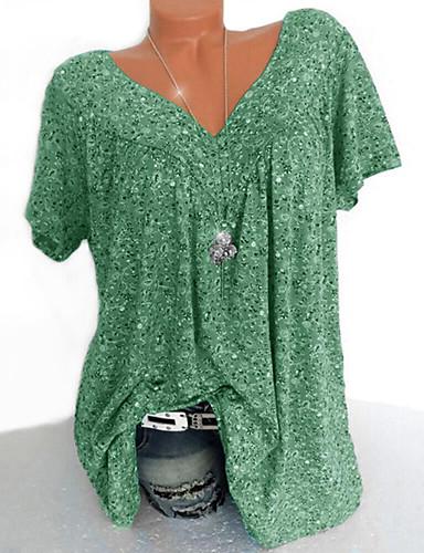 billige Dametopper-V-hals Skjorte Dame - Blomstret / Geometrisk / Grafisk, Lapper / Trykt mønster Gul
