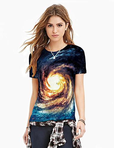 billige Topper til damer-T-skjorte Dame - Galakse / Fargeblokk / 3D, Trykt mønster Grunnleggende / overdrevet Blå