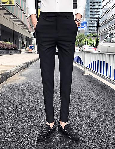 baratos Calças e Shorts Masculinos-Homens Básico Chinos Calças - Sólido Clássico Preto Cinzento Escuro Cinzento 33 34 36
