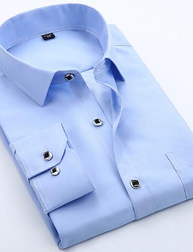 billige Herreskjorter-Tynn Skjorte Herre - Ensfarget, Drapering Grunnleggende Blå