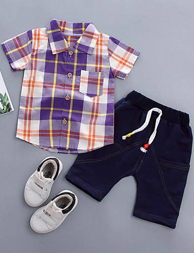 preiswerte Sommerurlaub Hot Sale-Baby Jungen Grundlegend Hahnentrittmuster Kurzarm Standard Baumwolle Kleidungs Set Purpur