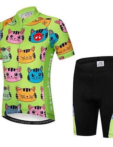 povoljno Biciklizam-Dječaci Djevojčice Kratkih rukava Biciklistička majica s kratkim hlačama - Dječji Crno bijela  / Blue / Bijela Crna / Green Mačka Crtani film Bicikl Sportska odijela Prozračnost Ovlaživanje Quick dry