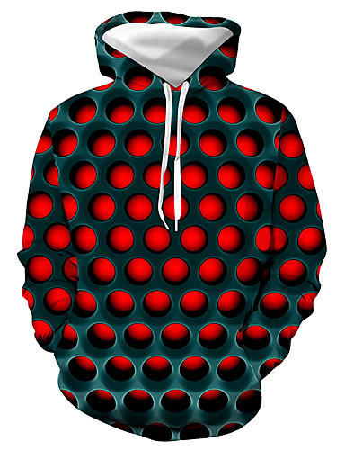 cheap Men's Sweatshirts Best Seller-Men's Plus Size Basic / Casual / Daily Hoodie - Geometric / Color Block / 3D Hooded Red XXXL