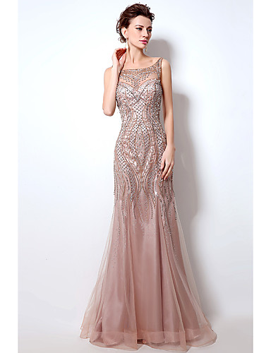 ed0182337d8cd Mermaid / Trumpet Boat Neck Court Train Tulle Sparkle & Shine / Beautiful  Back Formal Evening Dress with Beading / Sequin / Crystals by JUDY&JULIA  7258219 ...