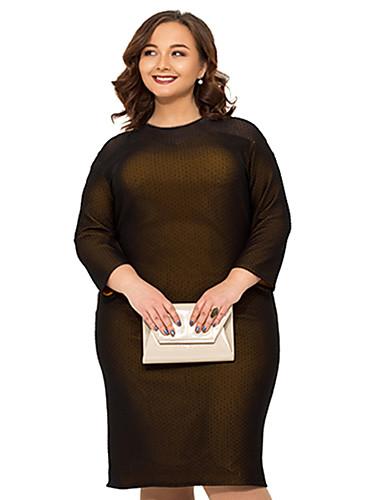 levne Šaty velkých velikostí-Dámské Šik ven Elegantní Bodycon Pouzdro Šaty - Jednobarevné, Síťka Rozparek Patchwork Délka ke kolenům