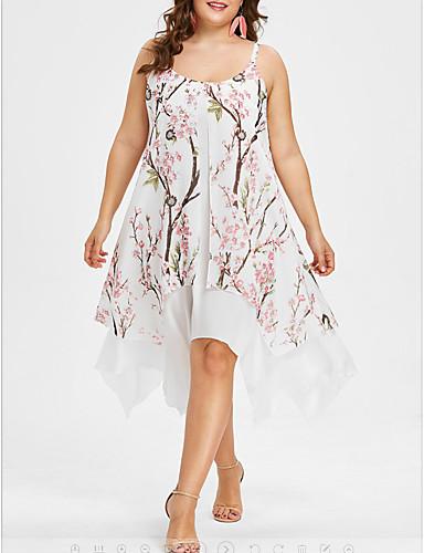 billige Kjoler-Dame Elegant Chiffon Swing Kjole - Geometrisk, Lapper Trykt mønster Asymmetrisk
