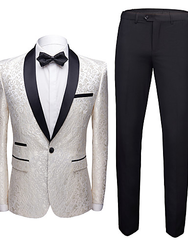 cheap Tuxedos & Suits-Tuxedos Standard Fit Shawl Collar Single Breasted One-button Cotton / Polyester / Cotton Blend Floral / Botanical