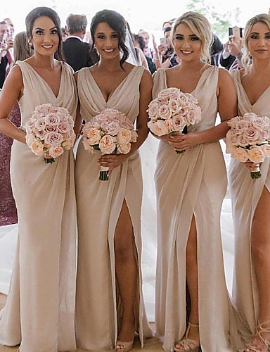 cheap Bridesmaid Dresses-Plunging Neck Chiffon Bridesmaid Dress with Split Front / Ruching by JUDY&JULIA