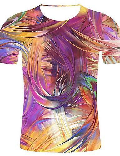 levne Pánská tílka-Pánské - Geometrický / 3D / Grafika Prohlášení / 3D Cubic Twist Větší velikosti Tričko, Tisk Bavlna Kulatý Duhová