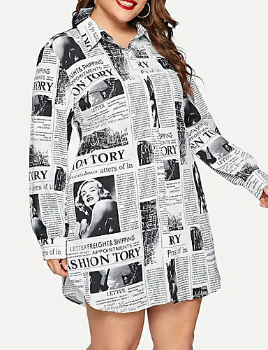cheap Plus Size Dresses-Women's Shirt Dress Short Mini Dress - Long Sleeve Geometric Print Shirt Collar Plus Size Streetwear White XL XXL XXXL XXXXL