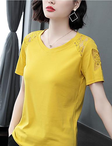 billige Dametopper-Bomull T-skjorte Dame - Ensfarget, Blonde / Lapper Elegant Svart XL