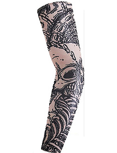 povoljno Odjeća za vožnju biciklom-1 par Biciklistički rukavi Armwarmers Kompresijski rukavi Ispisano je 3D tetovaža UPF 50 Zaštita od sunca UV otporan Bicikl Braon Tamno siva Red+Brown Spandex za Uniseks Odrasli Vježbanje na