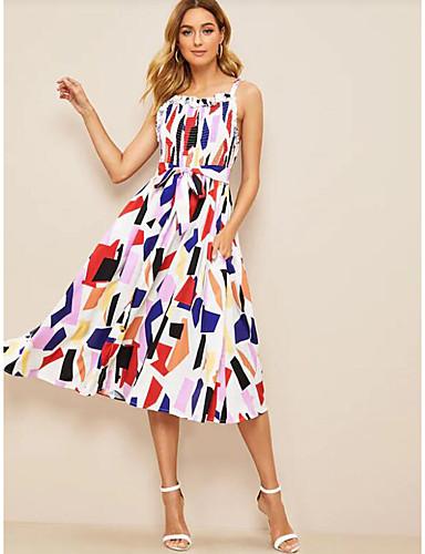 Жен. Классический С летящей юбкой Платье - Геометрический принт, С принтом До колена