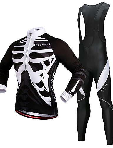cheap Cycling-WOSAWE Men's Long Sleeve Cycling Jersey with Bib Tights Winter Fleece Silicone Polyester Black Skeleton Bike Jersey Thermal Warm Fleece Lining 3D Pad Reflective Strips Back Pocket Sports Skeleton