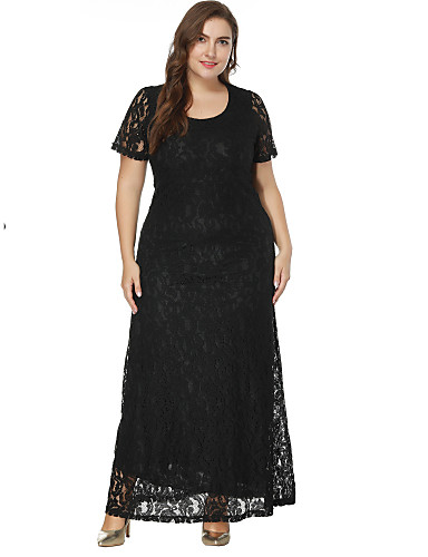 cheap Special Occasion Dresses-A-Line / Sheath / Column Jewel Neck Floor Length Lace Formal Evening Dress with Lace Insert by LAN TING Express