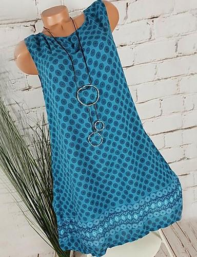 preiswerte Blaue Kleider-Damen Hemd Kleid - Tupfen Knielang V-Ausschnitt