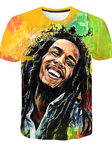 voordelige Uitverkoop-Heren Standaard Print Grote maten - T-shirt 3D / Portret Ronde hals Regenboog XXXXL / Korte mouw