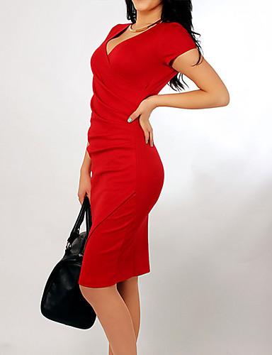 levne Pracovní šaty-Dámské Bodycon Šaty Puntíky Délka ke kolenům