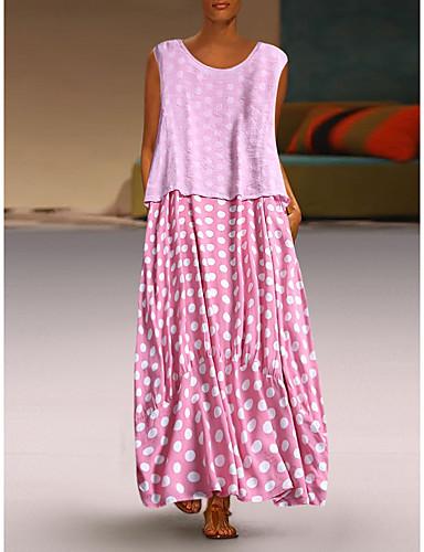رخيصةأون خصم يصل إلى 90%-فستان نسائي كلاسيكي عصري أنيق طويل للأرض فضفاض منقط