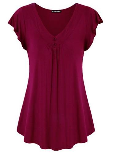 billige Dametopper-Bomull Løstsittende V-hals Store størrelser T-skjorte Dame - Ensfarget Grunnleggende / Elegant Fuksia XXXXL