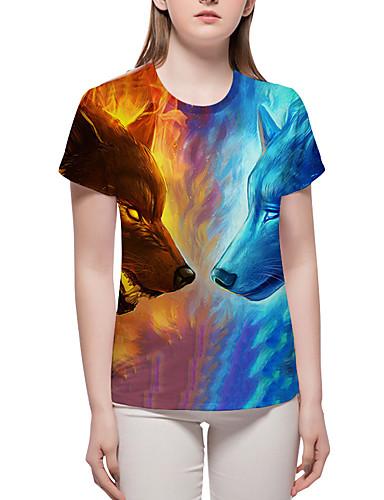 billige Dametopper-Store størrelser T-skjorte Dame - Fargeblokk / 3D / Dyr, Trykt mønster Grunnleggende / overdrevet Blå XL