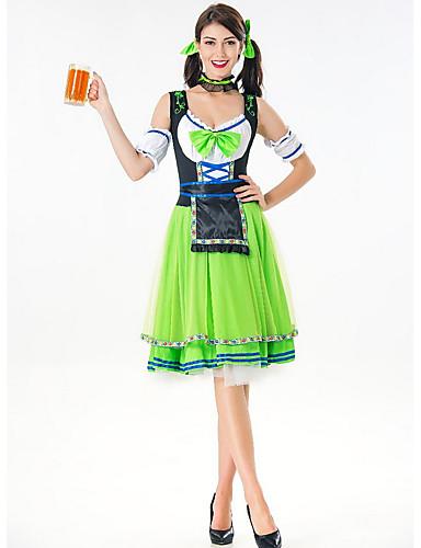 preiswerte Neon-Oktoberfest Dirndl Trachtenkleider Damen Kleid Bayerisch Kostüm Grün Rote