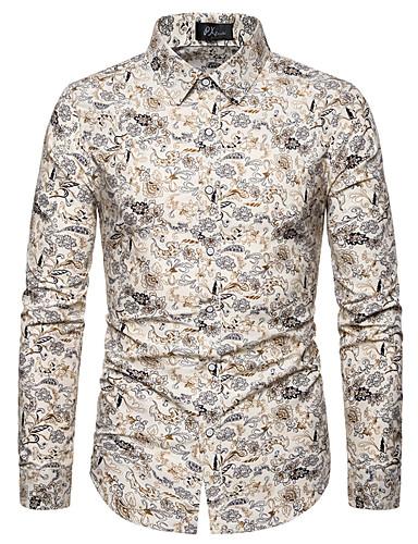 voordelige Herenoverhemden-Heren Print Overhemd Effen / Geometrisch / Grafisch Opstaande boord Zwart / Lange mouw