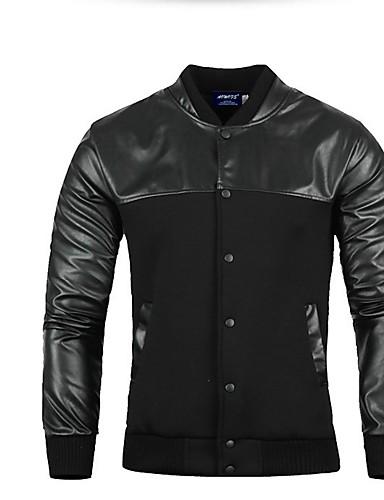 בגדי ריקוד גברים יומי סתיו חורף רגיל ג'קט, אחיד דש רשמי שרוול ארוך פוליאסטר שחור