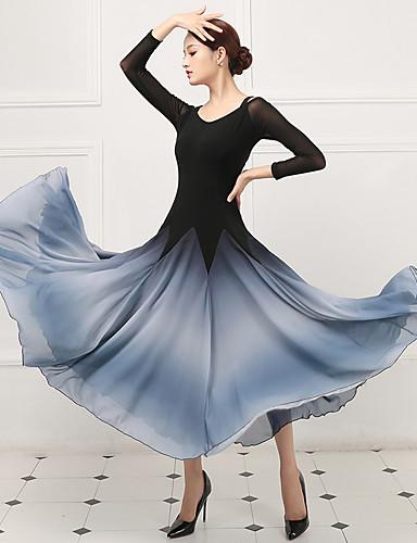 preiswerte Tanzkleidung-Für den Ballsaal Kleider Damen Training / Leistung Kristall-Baumwolle / Kunst-Seide Kombination 3/4 Ärmel Normal Kleid