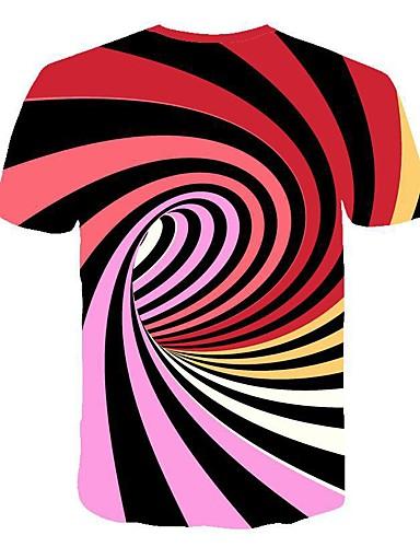 Rund hals T-skjorte Herre - Stripet / 3D, Trykt mønster Grunnleggende / Gatemote Klubb Svart og hvit Hvit / Kortermet / Sommer