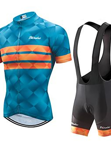 povoljno Odjeća za vožnju biciklom-Muškarci Kratkih rukava Biciklistička majica s kratkim tregericama Blue + Orange Bicikl Sportska odijela Prozračnost Quick dry Ultraviolet Resistant Sportski Vodoravne trake Brdski biciklizam