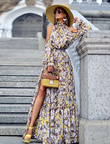 preiswerte Lange Kleider-A-Linie Halter Boden-Länge Polyester Abiball / Formeller Abend Kleid mit durch LAN TING Express